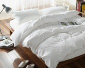100% Linen Duvet cover White color - Seamless Washed Softened - Twin Full Queen King California King All size - Ideal for HOT climate