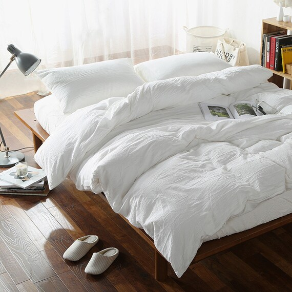 Tahari Sheets Sale: 100% Linen Duvet Cover White Color Seamless Washed Softened