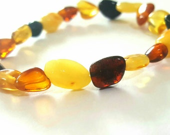 New Baltic Amber Baby Teething Anklet for Mommy Adult Bracelet Multicolor Polished OliveForm Lemon Yellow Beads on Rubber