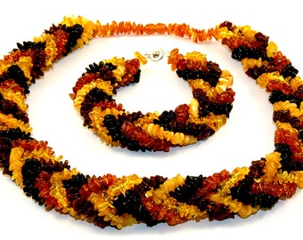 Baltic Amber Necklace and Bracelet Multicolor Natural Shape Beads