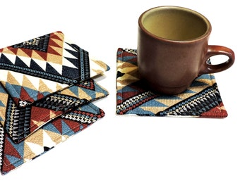Southwest Fabric Coasters, Geometric Pattern Mug Rugs, All Occasion Country Western Furniture Protectors Home Decor, Kitsch itsyourcountry