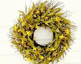 Spring Wreath-Summer Wreath-Fall Wreath-Rustic Twig Wreath-Country Farmhouse Decor-Wreaths-YELLOW Wreath-Scented Wreath-Housewarming Gift