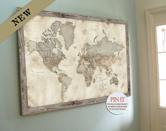 Framed vintage world map etsy world map push pin map vintage map decor emotional gift for son gumiabroncs Gallery