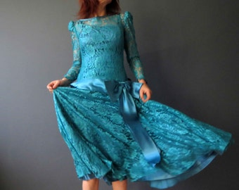 80s Teal Blue Green Lace Drop Waist Satin Bow Dress Medium