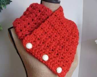 Crocheted Red Neck Warmer Three Button Scarf Lion Brand Acrylic Hometown USA Cinncinatti Red Yarn done in my Original Pattern - Women Gift