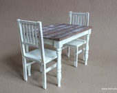 1/6 scale Table and 2 Chairs Shabby Cottage chic Farmhouse Dining / Kitchen Set for dolls (Blythe, Pullip, Obitsu, Barbie, BJD, Momoko)