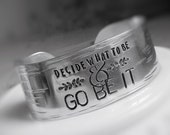 Decide What To Be Cuff Bracelet Personalized Quote Text Bangle Engraved Custom Gift for Her Graduation Inspiration