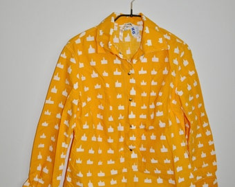 sale 1969 DR Vintage Marimekko Cotton Yellow Shirt Jokapoika Finland Vintage Textile Design Research