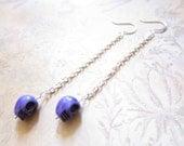 Purple Skull Silver Chain Earrings TCJG