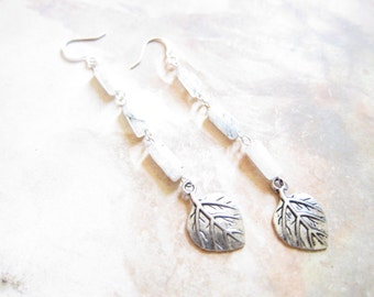 Quartz Gemstone Leaf Charm Earrings TCJG