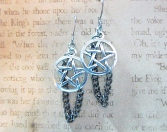 Silver Pentagram Gun Metal Chain Earrings TCJG