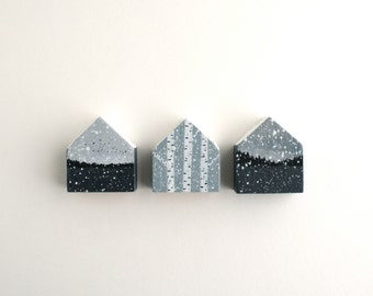 Miniature Winter Painted Houses - Set of Three