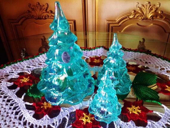 FENTON Glass Christmas Tree Trio 3 Aquamarine Blue Green