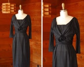 SALE / vintage 1950s dress / 50s black silk cocktail dress / size xs