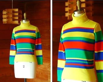 20% OFF FALL SALE / vintage colorful striped wool turtleneck sweater / size xs small