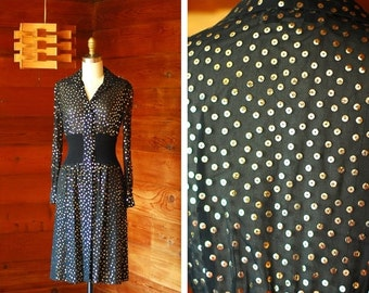 20% OFF FALL SALE / vintage 1970s Pat Sandler black and gold sequin dress / size xs small