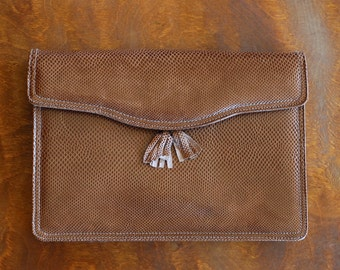 vintage Saks Fifth Avenue brown reptile leather clutch