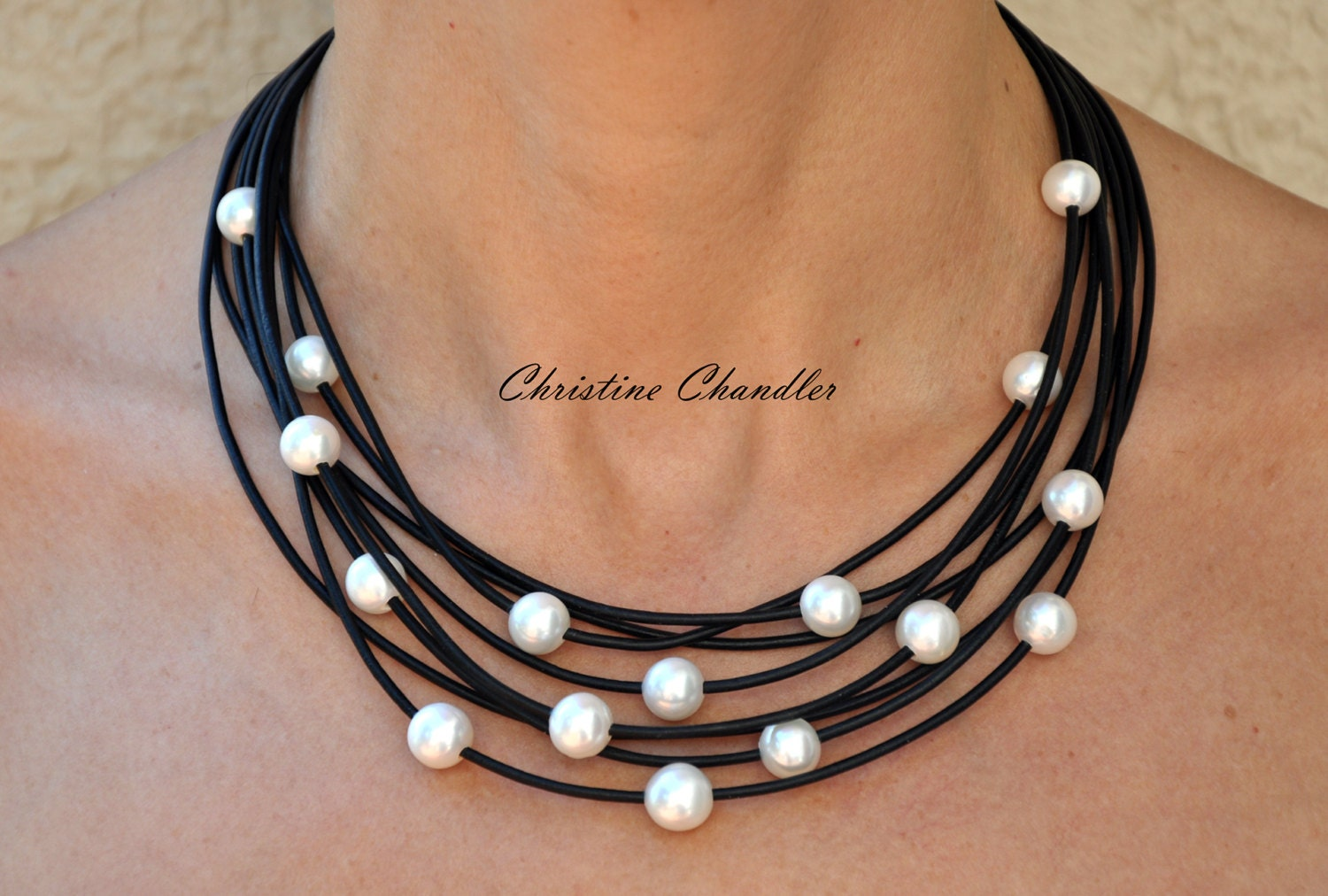 pearl and leather necklace multi strand leather necklace