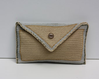 evening clutch embroidered with gold, green and blue