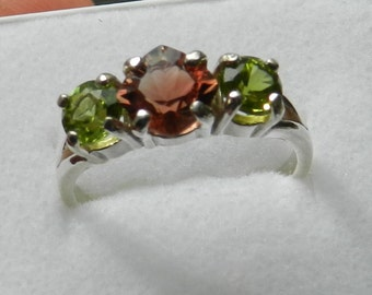 Oregon Sunstone Ring RED, Green Peridot 3 stone.    #316
