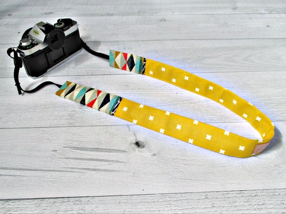 Gold  Camera Strap. Skinny DSLR Strap with Aztec Pattern. Cute Camera Strap. Gift for Photographer. Gift for Her Under 30.