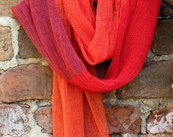 Linen Scarf Shawl Wrap Stole orange red burgundy - Multicolored, Light, Transparent