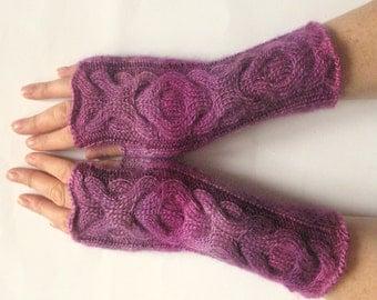 Purple Fingerless Gloves Christmas Gift Knit Gloves Winter Gloves Pink Long Fingerless Gloves