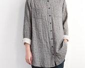 single breasted Shirt/  floral shirt Women Loose Fitting Blouse/ gray Shirt/ beige shirt