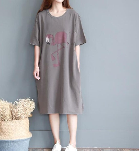 Summer long loose women dress cotton short sleeved long T-shirt Summer gown