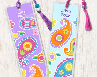 Kid's Personalized Pink Paisley Bookmarks, Girls Laminated Bookmarks, Bookmark Set of 2, Great Gift, Birthday Gift