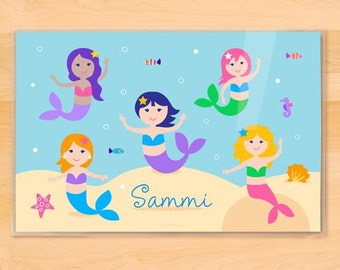 Kid's Personalized Mermaid Placemat, Ocean Placemat, Laminated Mealtime Placemat, Girls Placemat