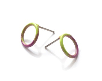 simple small circle post earrings in a violet and green ombre gradation, powder coat wire stud earrings, SALE 50% OFF