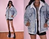 80s Levi's Acid Wash Denim Jacket/ Unisex Large/ 1980s/ Vintage/ Jean Jacket
