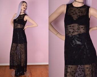 90s Black Floral Mesh Maxi Dress/ US 8/ 1990s/ Sheer/ Flower/ Grunge/ Clubkid