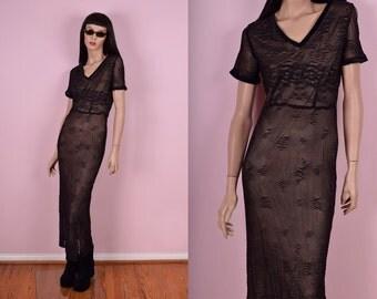 90s Black Mesh Dress