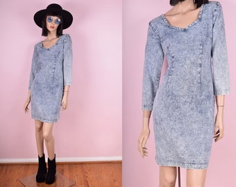 80s Acid Wash Denim Dress