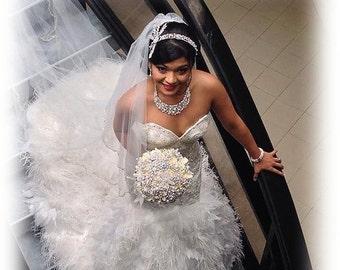Wedding jewelry, Bridal jewelry set , Bridal bib necklace earrings, vintage inspired pearl necklace, rhinestone bridal statement necklace