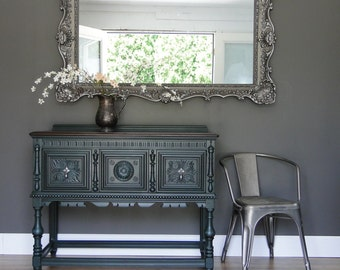 """SOLD***  Smaller Antique Ornate Buffet, Sideboard, Entry Table teal green, Dark Stained Top """"Minzilla"""" Modern Vintage"""
