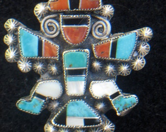 Vintage Sterling Silver Inlaid Zuni Knifewing Pin Signed UAE c 1940's-50's