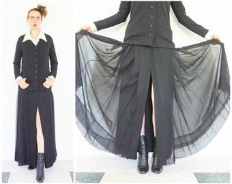 80s Avant Garde Black Slit Skirt Sweater Dress