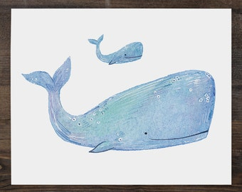 Watercolour illustration nursery print Mother and Baby Whale 8 x 10