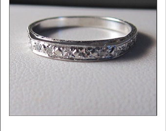 Estate 18k Diamond Engraved Custom Two Tier Eternity Wedding Band