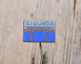 """Vintage Latvian enamel badge,pin.""""Latvian town-Sigulda"""""""