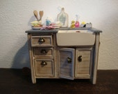 Miniature dollhouse Tuscan-style kitchen sink