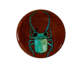 Green Beetle Button Greetings Card