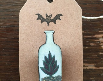 Succulent in a bottle Brooch