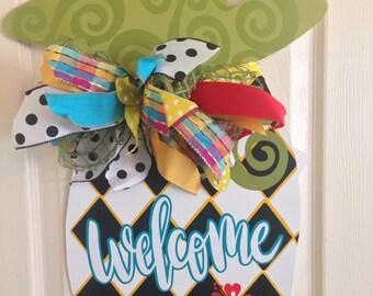 READY TO SHIP!! Pineapple Door Hanger/Welcome Door Hanger/ Door Decor