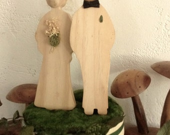 Vintage Modern Bride Groom Cake Topper Solid Wood Montessori Style