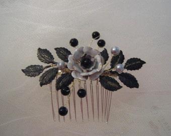 Flower hair comb Black white hair comb Black pearl comb Bridal comb flower leaf comb flower hair comb bridal accessories wedding accessories