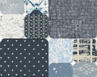 Pick Size Rag Quilt - Observer King Queen Full Twin xl Throw - Blue Navy Masculine Modern Handmade Bedding